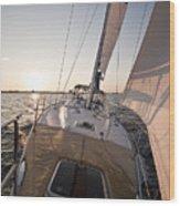 Beneteau 49 Sailing Yacht Close Hauled Charleston Sunset Sailboat Wood Print