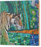 Bengal Tiger And Dragonfly Wood Print