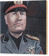 Benito Mussolini Color Portrait Circa 1935 Wood Print