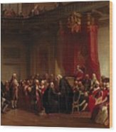 Benjamin Franklin Appearing Before The Privy Council  Wood Print by Christian Schussele