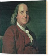 Benjamin Franklin Wood Print by Joseph Wright of Derby