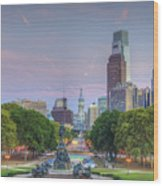 Benjamin Franklin Parkway City Hall Wood Print