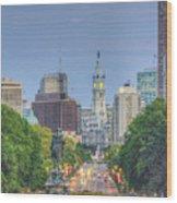 Benjamin Franklin Parkway City Hall Vertical Wood Print