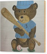 Benny Bear Baseball Wood Print