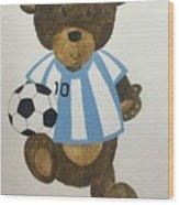 Benny Bear Soccer Wood Print