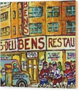 Ben's Famous Smoked Meat Montreal Memories Canadian Paintings Hockey Scenes And Landmarks  C Spandau Wood Print