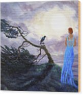 Bent Cypress And Blue Lady Wood Print