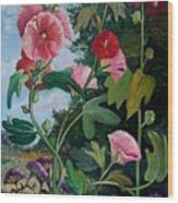 Bent Hollyhocks Wood Print