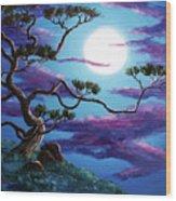 Bent Pine Tree At Moonrise Wood Print