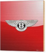 Bentley 3 D Badge On Red Wood Print