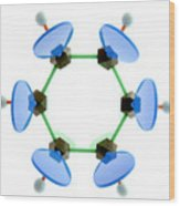 Benzene Molecule Wood Print by Lawrence Lawry