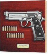 Beretta 92fs Inox With Ammo On Red Velvet  Wood Print
