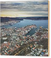 Bergen Norway Aerial Wood Print
