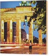Berlin - Brandenburg Gate At Night Wood Print