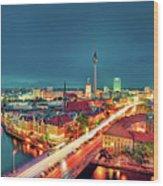 Berlin City At Night Wood Print