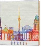 Berlin Landmarks Watercolor Poster Wood Print