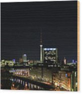 Berlin Night Landscape Wood Print