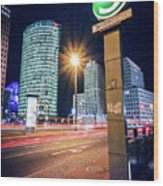 Berlin - Potsdamer Platz Square At Night Wood Print