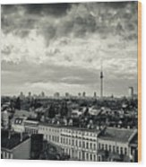 Berlin Skyline And Roofscape -black And White Wood Print