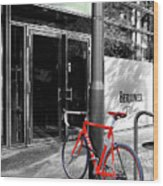 Berlin Street View With Red Bike Wood Print