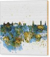 Berlin Watercolor Skyline Wood Print