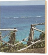 Bermuda Fence And Ocean Overlook Wood Print