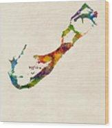 Bermuda Watercolor Map Wood Print