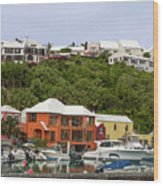 Bermuda Waterside Scene Wood Print