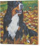 Bernese Mountain Dog Autumn Leaves Wood Print