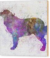 Bernese  Mountain Dog In Watercolor Wood Print