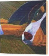 Bernese Mtn Dog On The Deck Wood Print