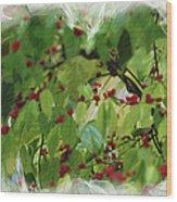 Berries And Leaves 51 Wood Print