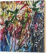 Berries Over Flowers Wood Print