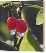 Berry Droplets Wood Print