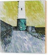 Berwick Lighthouse As Graphic Art. Wood Print