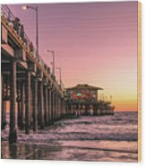 Beside The Pier By Mike-hope Wood Print