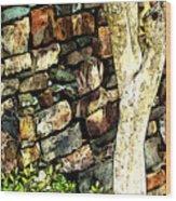 Beside The Wall Wood Print