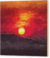 Beskidy Sunset Wood Print