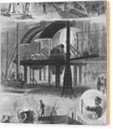 Bessemer Steel Manufacture. Six Wood Print by Everett