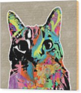 Best Listener Kitty- Pop Art By Linda Woods Wood Print