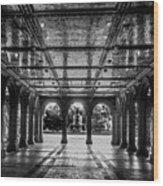 Bethesda Terrace Arcade 2 - Bw Wood Print