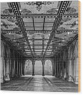 Bethesda Terrace Arcade 3 - Bw Wood Print