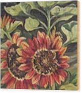Betsy's Sunflowers Wood Print