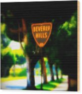 Beverly Hills Sign Wood Print