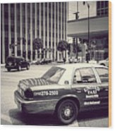 Beverly Hills - Taxi - Wilshire Boulevard Intersection Wood Print