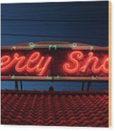 Beverly Shores Indiana Depot Neon Sign Panorama Wood Print