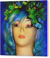 Beverlys Blue Butterflys Wood Print