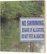 Beware Of Alligators Wood Print