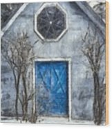 Beyond The Blue Door Pencil Wood Print