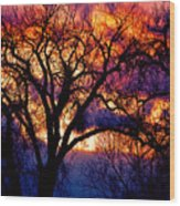 Beyond The Cottonwoods Wood Print